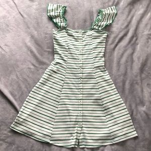 F21 Striped Off the Shoulder Button Dress